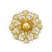 """Брошь-кулон """"Цветок"""" с Австралийской золотой жемчужиной 11-11,5 мм"""