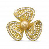 """Брошь """"Бант"""" из сплава с Австралийской золотой жемчужиной 10-10,5 мм"""