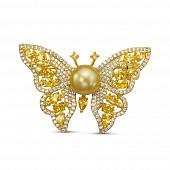"""Брошь """"Бабочка"""" из сплава с золотистой Австралийской жемчужиной 10-10,5 мм"""