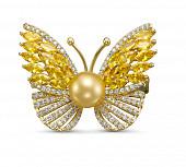 """Брошь-кулон """"Бабочка"""" с Австралийской морской жемчужиной 10-10,5 мм"""