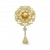 """Брошь """"Цветок"""" из сплава с золотистой Австралийской жемчужиной 10-10,5 мм"""