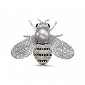 Брошь-кулон, украшенная серебристой жемчужиной 8,5-9 мм