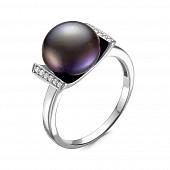 Кольцо из серебра с черной речной жемчужиной 10,5-11 мм