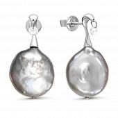 """Серьги из серебра с серебристыми жемчужинами """"Барокко"""" 19-20 мм"""
