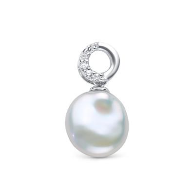 Кулон из серебра с белой барочной жемчужиной 13,5 мм