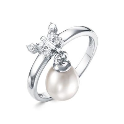Кольцо из серебра с белой морской Австралийской жемчужиной 9-9,5 мм