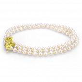 """Ожерелье """"галстук"""" из белого круглого речного жемчуга. Жемчужины 7-7,5 мм"""