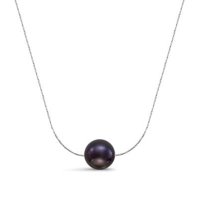 Цепочка из серебра 925 пробы с черной круглой речной жемчужиной 9-9,5 мм