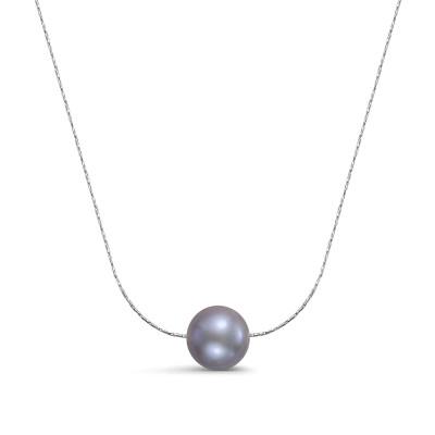 Цепочка из серебра 925 пробы с серебристой круглой речной жемчужиной 8,5-9 мм