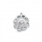 """Кулон """"Роза"""" из серебра с белой речной жемчужиной 6,5-7 мм"""