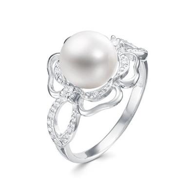 """Кольцо """"Роза"""" из серебра с белой речной жемчужиной 8,5-9 мм"""