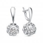 """Серьги """"Роза"""" из серебра c белыми речными жемчужинами 6,5-7 мм"""