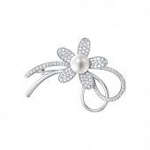 """Брошь """"Цветок"""" из серебра с белой речной жемчужиной 8,5-9 мм"""