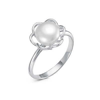 """Кольцо """"Цветок"""" из серебра с белой речной жемчужиной 7,5-8 мм"""