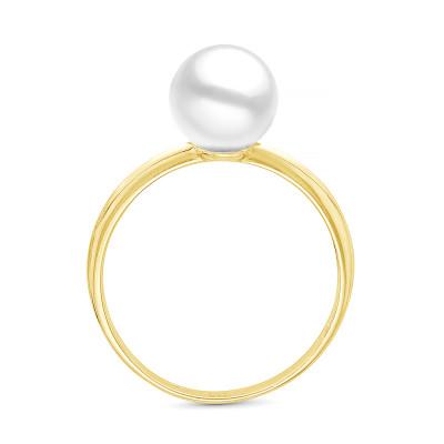 Кольцо из желтого золота с белой морской жемчужиной Акойя 7-7,5 мм