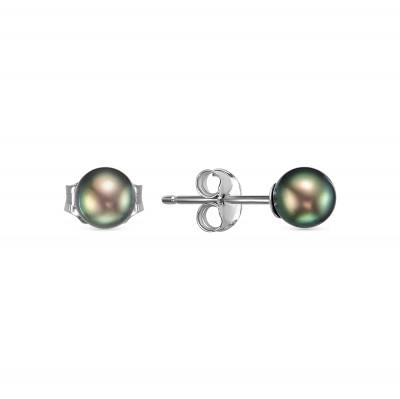 Пусеты из серебра 925 пробы с черными речными жемчужинами 5-5,5 мм