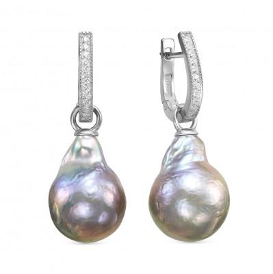 """Серьги из серебра с серебристыми жемчужинами """"Барокко"""" 14-16 мм"""