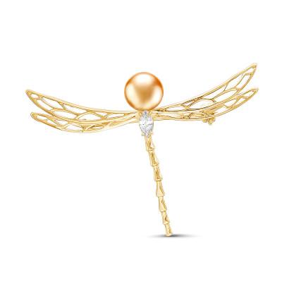 """Брошь """"Стрекоза"""" из серебра с золотистой морской жемчужиной Акойя 7,5-8 мм"""