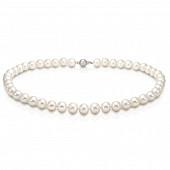 Ожерелье из белого круглого речного жемчуга. Жемчужины 8-8,5 мм