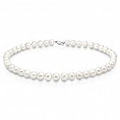 Ожерелье из белого круглого речного жемчуга. Жемчужины 8,5-9,5 мм