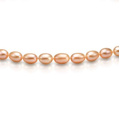 Ожерелье из розового рисообразного речного жемчуга. Жемчужины 7,5-8 мм