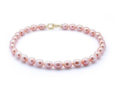Ожерелье из розового рисообразного жемчуга. Жемчужины 10-11 мм