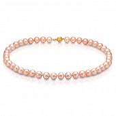 Ожерелье из розового круглого речного жемчуга. Жемчужины 8,5-9,5 мм
