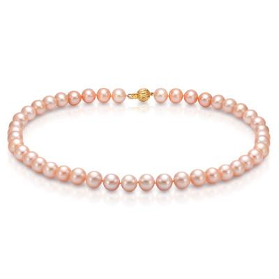 Ожерелье из розового круглого речного жемчуга. Жемчужины 9-10 мм