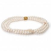 Ожерелье 3-рядное из белого речного жемчуга. Жемчужины 8,5-9,5 мм