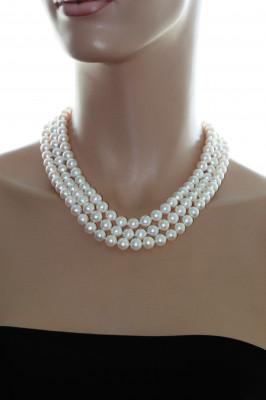 Ожерелье 3-рядное из белого речного жемчуга. Жемчужины 9-10 мм