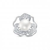 """Кулон """"Цветок"""" из серебра с белой речной жемчужиной 9,5-10 мм"""