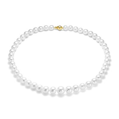 Ожерелье из белого круглого морского Австралийского жемчуга 8-10,7 мм