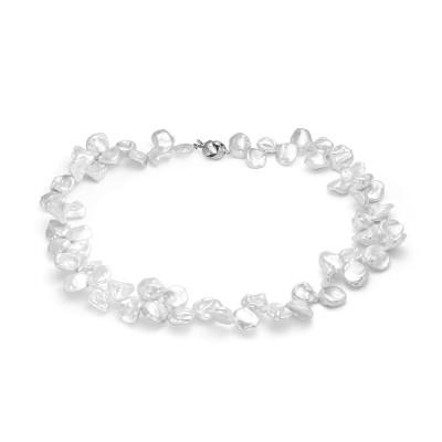 Ожерелье из белого барочного речного жемчуга. Жемчужины 10-13 мм