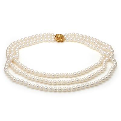 Ожерелье 3-рядное из белого пресноводного жемчуга. Жемчужины 8-8,5 мм