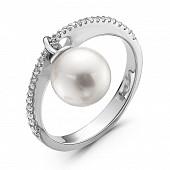 Кольцо из серебра с белой морской Австралийской жемчужиной 9,6-9,9 мм