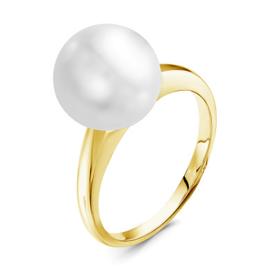Кольцо из желтого золота с белой морской Австралийской жемчужиной 12,6-12,9 мм