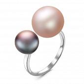 """Кольцо """"Диор"""" из серебра с розовой и черной речными жемчужинами 8,5-11 мм"""