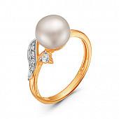 Кольцо из красного золота с белой речной жемчужиной 8,5-9 мм