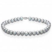 Ожерелье из серого круглого речного жемчуга. Жемчужины 10,5-11,5 мм