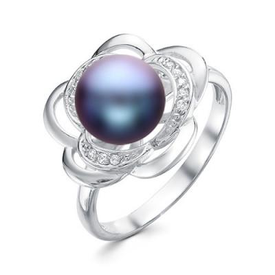 """Кольцо """"Роза"""" из серебра с черной речной жемчужиной 8,5-9 мм"""