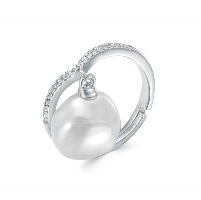 Кольцо из серебра с белой речной барочной жемчужиной 13 мм