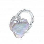 Кольцо из серебра с серебристой барочной жемчужиной 14 мм