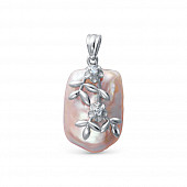 Кулон из серебра с розовой барочной речной жемчужиной 15-20 мм