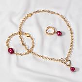 Комплект с цепями из красного барочного жемчуга 11-12 мм