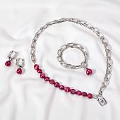 Комплект с красными барочными жемчужинами 11-12 мм
