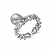 Кольцо из ювелирного сплава с серебристым жемчугом 9-10 мм