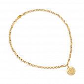 Цепочка-колье из ювелирного сплава с золотым покрытием с монетой