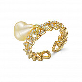 Кольцо из ювелирного сплава с золотистым барочным жемчугом 8-10 мм