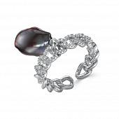 Кольцо из ювелирного сплава с черным барочным жемчугом 11-12 мм
