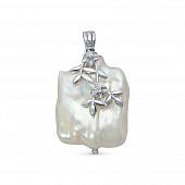 Кулон из серебра с белой барочной жемчужиной 20 мм